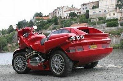 88e43 ferrari hybrid bike car 3 - Já pensou em uma moto e um carro juntos?