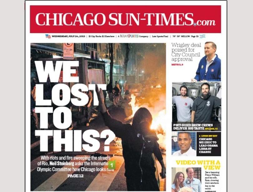 c9f53 chicago capa sobre rio - Veja a capa do Jornal de Chicago falando sobre as Olimpiadas do Rio: Perdemos para isso?