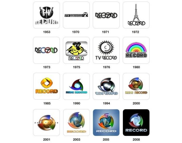 6b8da logos record antigos - Logo da Rede Record é menos colorida e tira o mapa da América do Sul